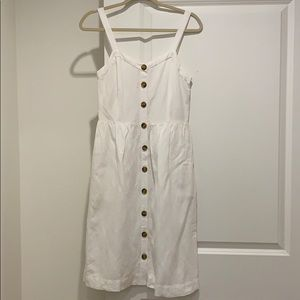Loft white midi dress with buttons